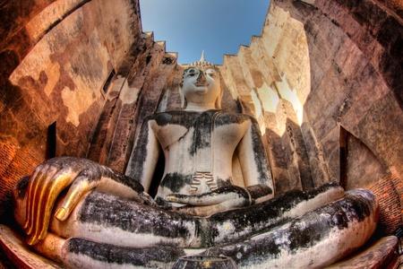 sukhothai: Big Buddha at Srichum Temple. Sukhothai Province, Thailand  Stock Photo