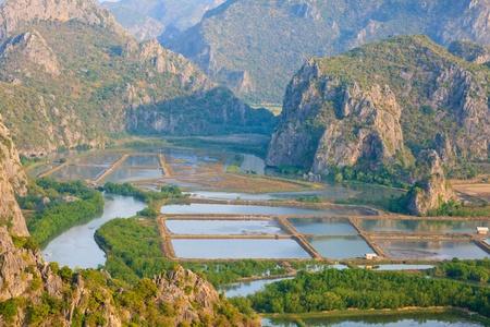 fish rearing:  Shrimp Farms and Limestone Mount. Sam Roi Yot National Park. Thailand