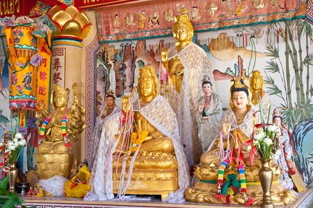 The Guanyin chinese female statue on china temple