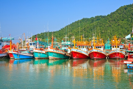 Colorful many fishing thai boats, thailand