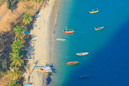 Gulf  Bird eye view and The Fishing Thai Boats, The Beauiful Sea scape, Thailand photo