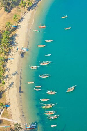 Gulf  Bird eye view and The Fishing Thai Boats, The Beauiful Sea scape, Thailand