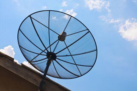 Compare Old analog antennas  VS modern analog  satellite with blue sky