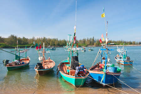 fishing thai boats and the blue sky, Thailand Stock Photo