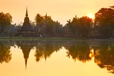 Sukhothai Historical Park in the morning, Sukhothai Province, Thailand  Stock Photo