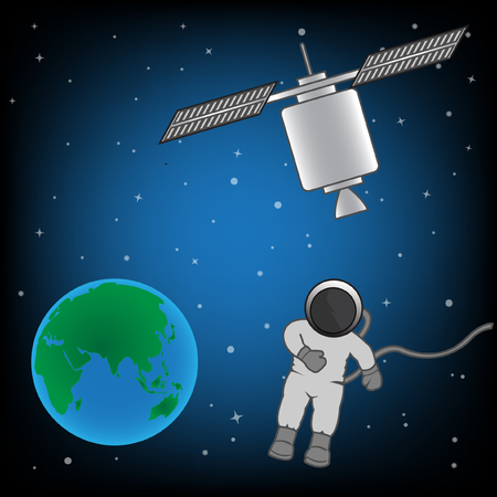 man flying: The man walking in space