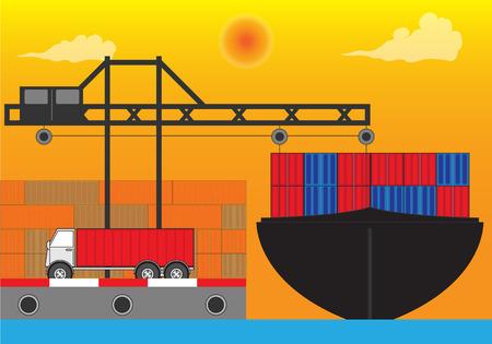 International port for industry transportation Illustration