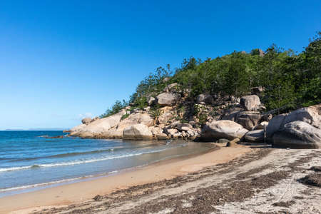 Magnetic Island, Queensland, Australia; March 2020: Alma bay in the afternoon with rocks and no people. Magnetic Island, Queensland, Australia