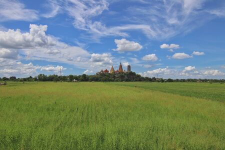 Rice field with Wat Tham Sua Temple (Tiger Cave Temple), Kanchanaburi Province, Thailand