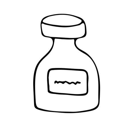 Bottle of medicine, vitamins and an antibiotic. Hand drawn vector illustration. 일러스트