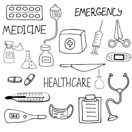 Medical set, mask, tablet, pill, phonendoscope, thermometer, IV drip for intravenous medication, First aid kit, Rubber feminine syringe. Hand drawn vector illustration. doodle style.