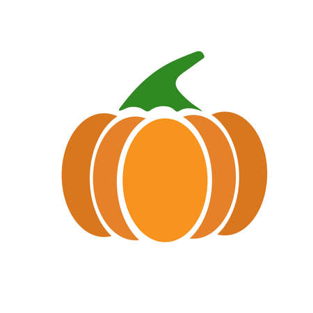 Pumpkin - thanksgiving and halloween symbol. Orange ripe pumpkin vector illustration isolated on a white background.
