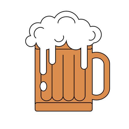 Beer mug with foam. Vector illustration isolated on white background. Alcoholic beverage for celebration Oktoberfest.
