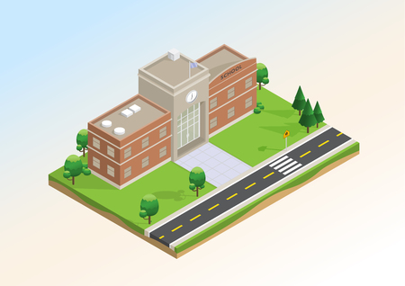 Isometric layout of school with trees, lawn and  road infrastructure. Vector illustration design with concept of education, that use for infographic element, website, presentation and printing media. Illustration