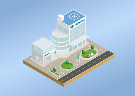 Isometric layout of hospital and emergency building with trees, lawn and  road infrastructure. Vector illustration design with concept of health care, medical center, business. Use for infographic element, website, presentation and printing media.