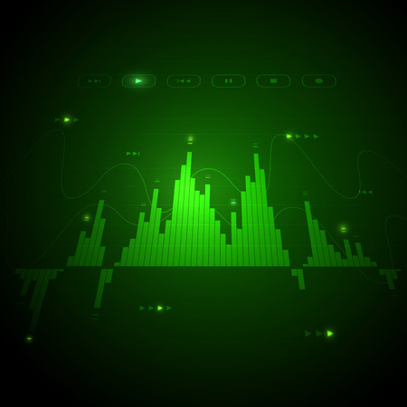 Digital music player screen monitor, user interface. Neon glowing visualization equalizer bars and sound frequency waves, audio vibrations, tune bar, recorder symbol, voice data. Vector illustration f  イラスト・ベクター素材