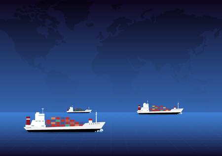 Cargo container ships navigate and world  map background. Vector illustration concept for transportation, logistics, shipping, business.