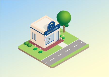 Isometric layout of barber shop, building with signboard, trees, lawn, road infrastructure. Vector illustration design concept for hair salons, beautify. Ilustração