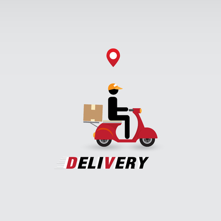 Messenger, delivery man with motorcycle, location marker on white background. Vector illustration for delivery anywhere service concept.