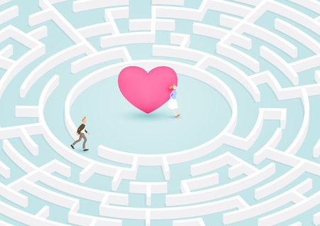 Man success to finding girl friend in circular maze, labyrinth of heart. Vector illustration for love, relationship. Illusztráció