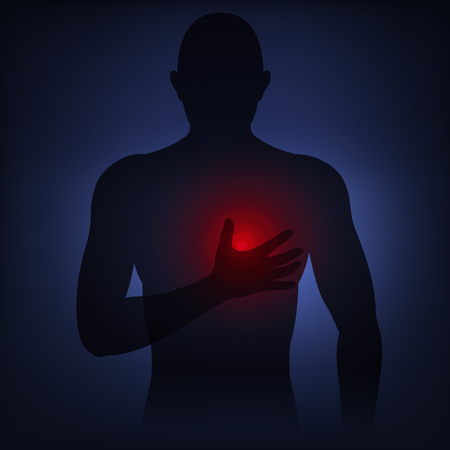 Man silhouette holds hand to pain point on chest, early symptoms of heart attack, health problems.  Vector illustration neon light style, low poly dark background. Vectores