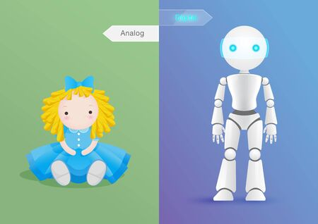 Comparison of change  between doll in former times, Analog Age and modern doll, robot, Digital Age. Vector illustration design concept of comparative technologies and life change.