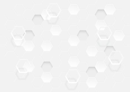 Abstract geometric of extruded hexagon shape, honeycomb white background light and shadow. Vector illustration 3D  style. Ilustracja