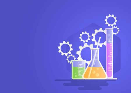 Laboratory glassware instruments, beaker, flask, equipment for chemical lab with gears symbol.  Vector illustration flat style for science, industry, health, education concept.