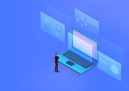Businessman looking data analysis charts, graphs on laptop computer screen and thinking. Vector illustration isometric 3d style with business decision concept.