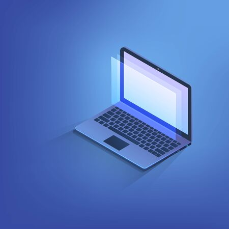 Isometric labtop, 3d computer notebook with blank copy space on screen. Vector illustration technology concept.