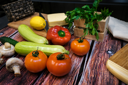 finocchio: Fresh vegetables on a wooden table lie