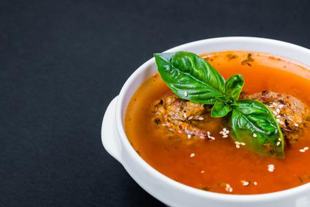 gazpacho: Vegetarian borscht basil Close up Black background