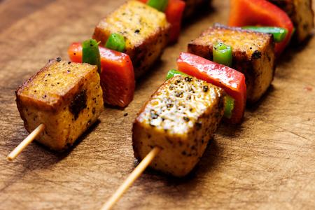 Tofu breaded. Vegetarian kebab with tofu cheese.