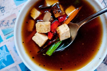 Miso soup. close up Foto de archivo