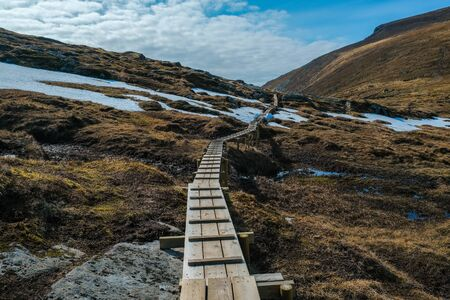 Hiking trail and alpine landscape of the Norway Stock fotó