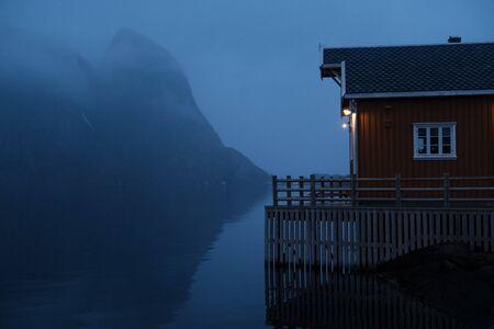 Reine at night, Lofoten, Norway.