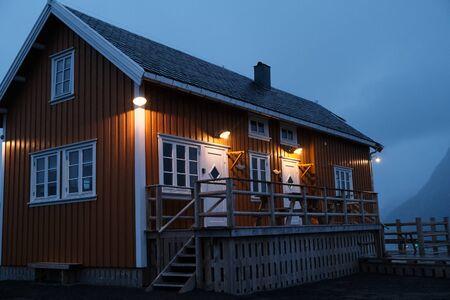 Norway rorbu houses and landscape scandinavian travel view Lofoten islands. Night landscape.