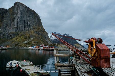 Hamnoy fishing village in morning, Moskenes, Lofoten archipelago islands, Nordland county, Norway. Stok Fotoğraf
