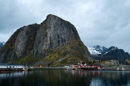 Hamnoy fishing village in morning, Moskenes, Lofoten archipelago islands, Nordland county, Norway. Stockfoto