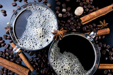 Horizontal shot of espresso and roasted coffee beans, close-up Stok Fotoğraf