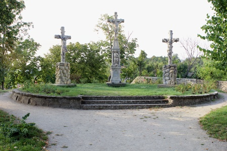crucifixes: Park under Gods protection Stock Photo