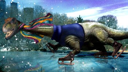 Ice Skating Dinosaur
