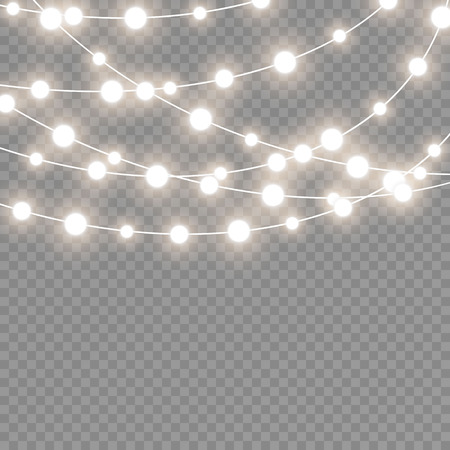 Christmas lights isolated on transparent background. Xmas glowing garland. Sparks glitter special light effect.