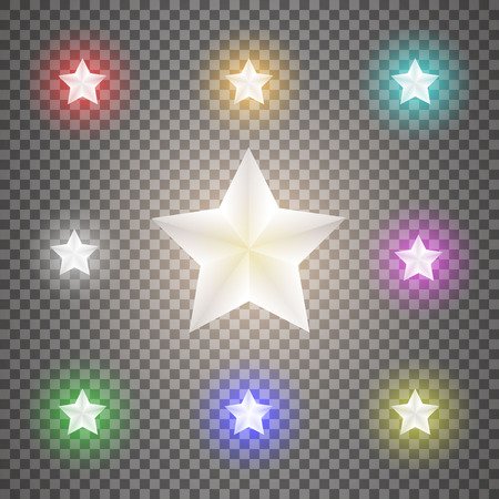 Star set on transparent background.Vector illustration. Stock Vector - 113538549