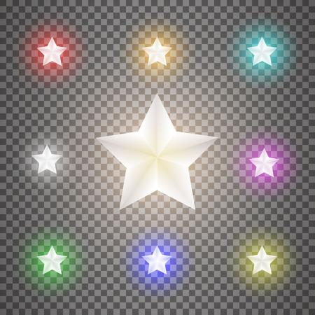 Star set on transparent background.Vector illustration. Illustration