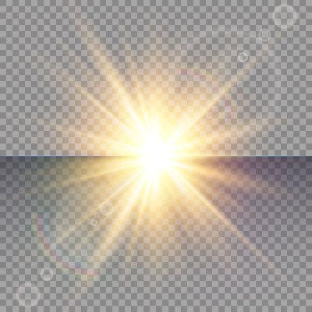 Effet spécial Light Flare avec des rayons de lumière et des étincelles magiques. Ensemble d'effets de lumière vecteur transparent lueur, explosion, paillettes, étincelles, flash solaire.