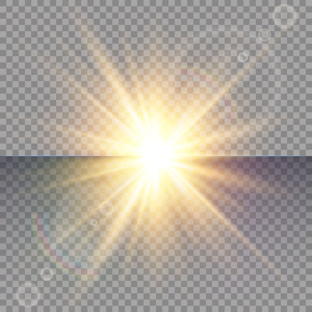 Light flare special effect with rays of light and magic sparkles. Glow transparent vector light effect set, explosion, glitter, spark, sun flash. Ilustrace