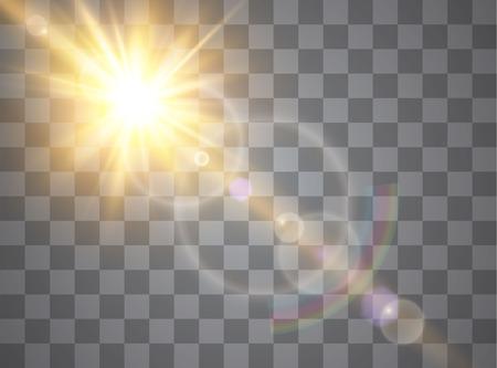 Effetto speciale bagliore di luce con raggi di luce e scintillii magici. Set di effetti di luce vettoriale trasparente bagliore, esplosione, glitter, scintilla, flash del sole.