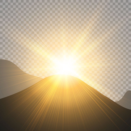 Sunrise over the mountains, dawn. Vector transparent sunlight. Special lens flare light effect. Ilustracja