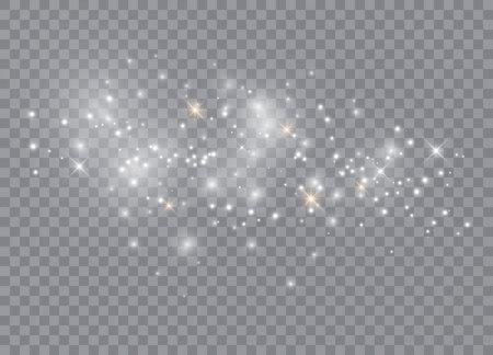 Efecto de luz especial de brillo de chispas. Vector brilla sobre fondo transparente. Patrón abstracto de Navidad. Partículas de polvo mágico espumoso Ilustración de vector